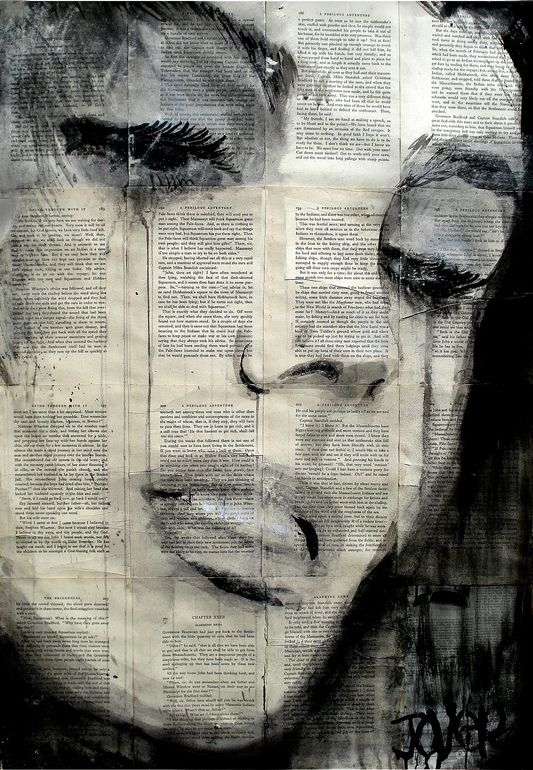 "Saatchi Online Artist: Loui Jover; Pen and Ink, Drawing ""solitude""; drawings on newspaper."