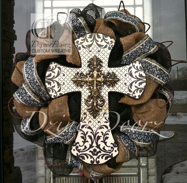 Antique Cross with Burlap deco mesh wreath