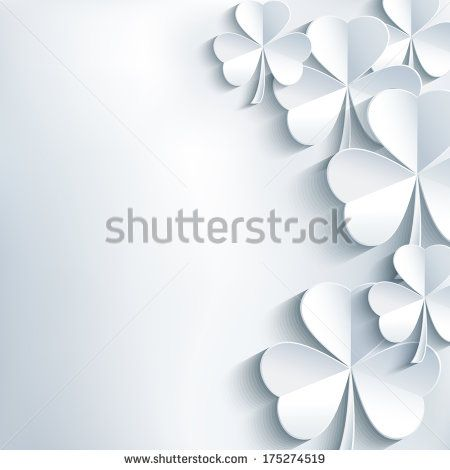 Stylish abstract St. Patrick's day background with cut paper 3d leaf clover. Trendy modern white - gray background. St. Patrick day card. Vector illustration