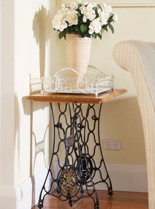 Singer sewing table as side table