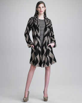 -3R6D Missoni Shawl-Collar Coat & Fitted Basket-Weave Dress    love this!!!