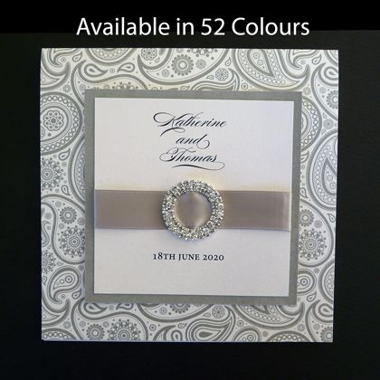 This square folding wedding invitation design has the names of the couple and date on the wedding printed on the front. It is shown here printed in a paisley pattern but can also be printed with other patterns. Available in more than 50 colours. www.kardella.com