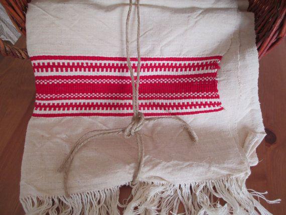 125. Flax linen towel vintage organic flax linen towel hand