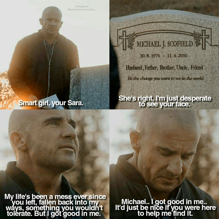 """Michael... I got good in me. It'd just be nice if you were here to help me find it"" - Lincoln Burrows #PrisonBreak"