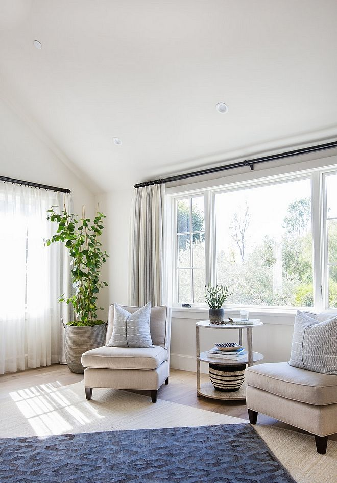 Bedroom Sitting Area With Two Accent Chairs Custom Draperies With