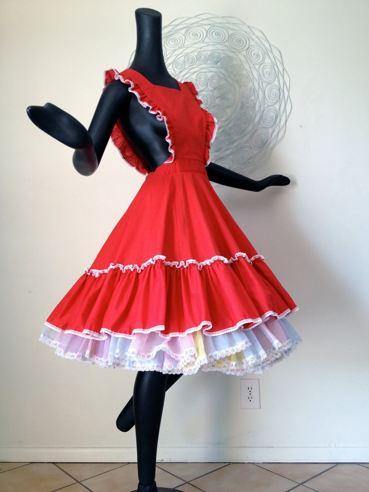Christmas Red Apron Dress Square Dance Dancing Dress Outfit Vintage Ruffled Ruffles Pinafore Smock Circle Skirt Style Small. $39.00, via Etsy.