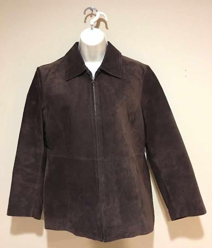 Women's DressBarn Leather Size M Zip Up Jacket Outerwear Coat 100% Leather Brown  | eBay