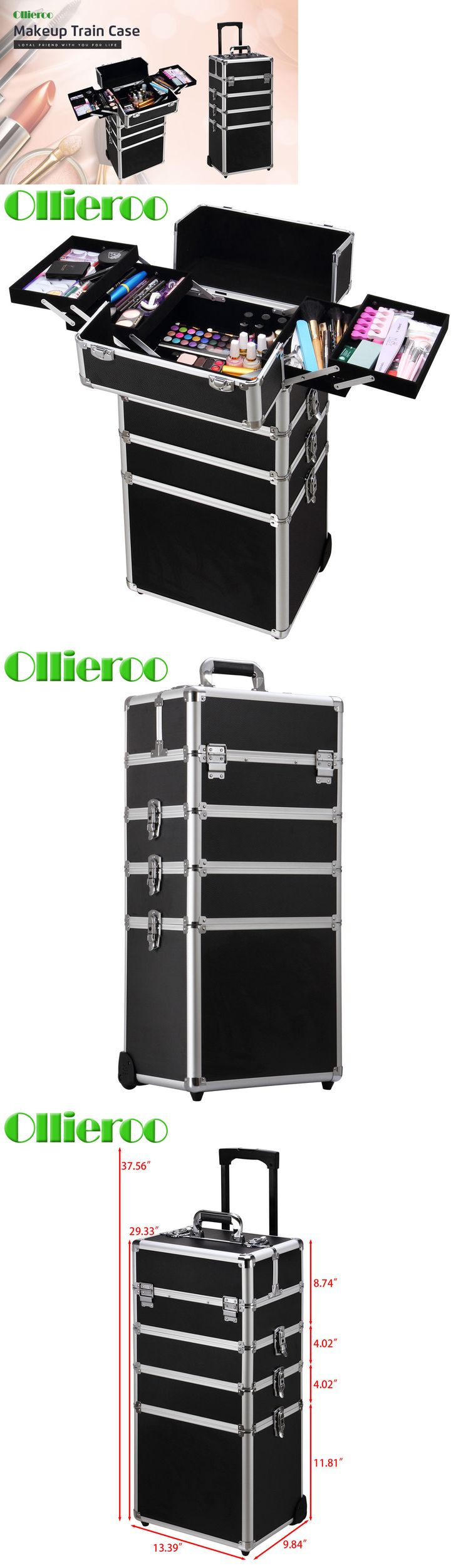 Rolling Makeup Cases: Ollieroo 4 In 1 Aluminum Rolling Cosmetic Makeup Train Cases Trolley Artist Box -> BUY IT NOW ONLY: $89.99 on eBay!