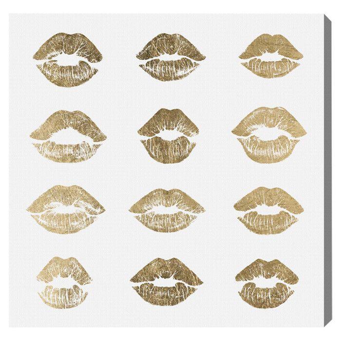 Oliver Gal 24k Kisses Oliver Gal Graphic Art on Canvas