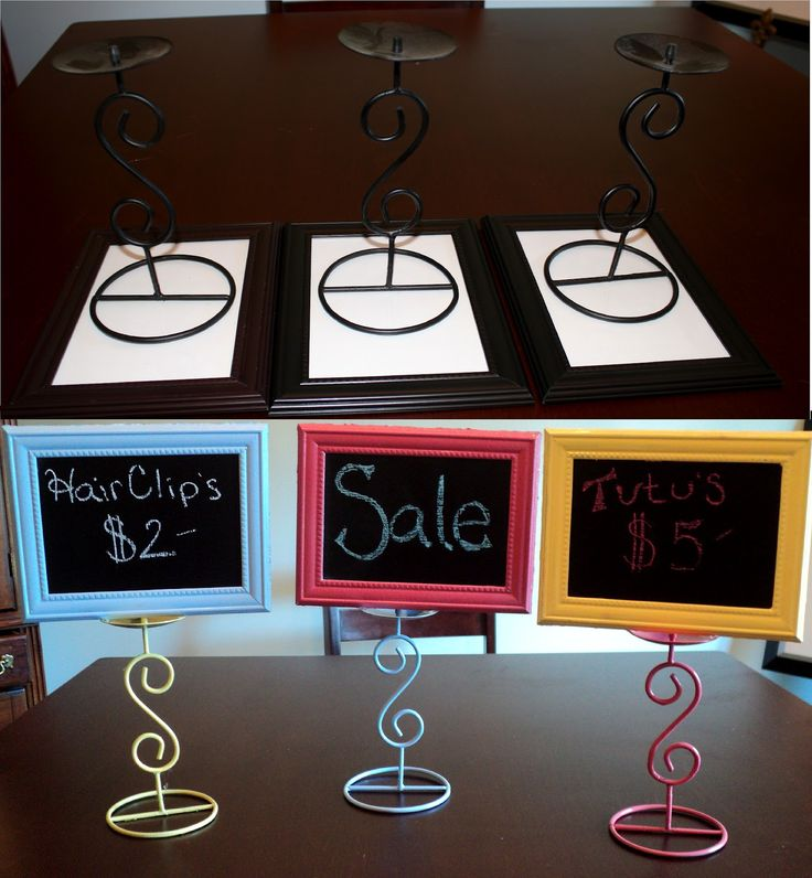 Make your own Chalk Board signs for only 2 dollars. Made with a Picture Frame and a Candle Holder from the dollar store!!