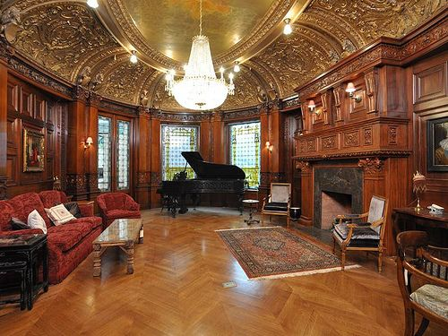 Burrage house Boston Victorian manor mansion interior pictures wood  wainscot paneled walls