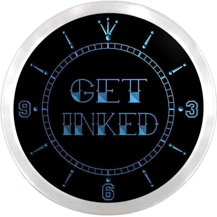 nc0648-b Get Inked Tattoo Piercing Shop Neon Sign LED Wall Clock #AdvProClock