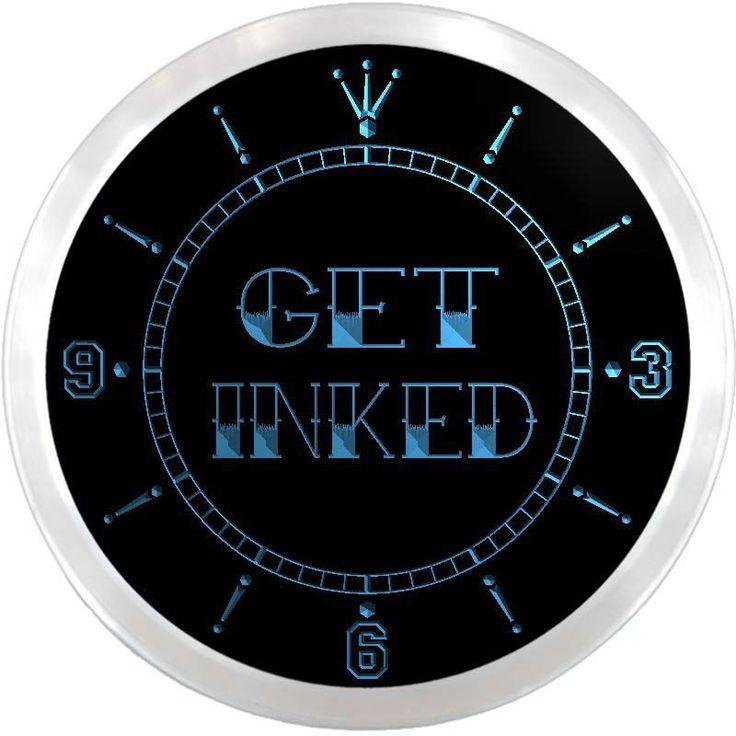 nc0648-b Get Inked Tattoo Piercing Shop Neon Sign LED Wall Clock #AdvProClock