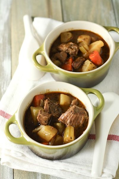 Slow Cooker Irish Beef Stew.  Found this through another pin but thought it deserved its own.  Made it last night and was very pleased with the results.  Slight modification for next time - dredge meat in flour prior to browning to create a thicker stew.