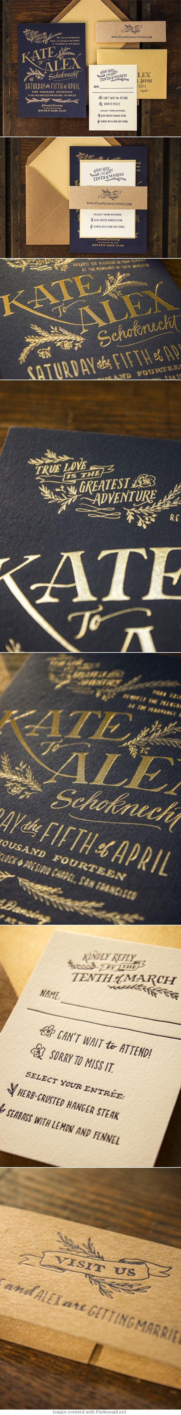 Kate + Alex's Elegant Rustic Wedding Invitations  #letterpress  #typography     http://ohsobeautifulpaper.com/2014/04/kate-alexs-elegant-rustic-wedding-invitations/ #weddinginvitation