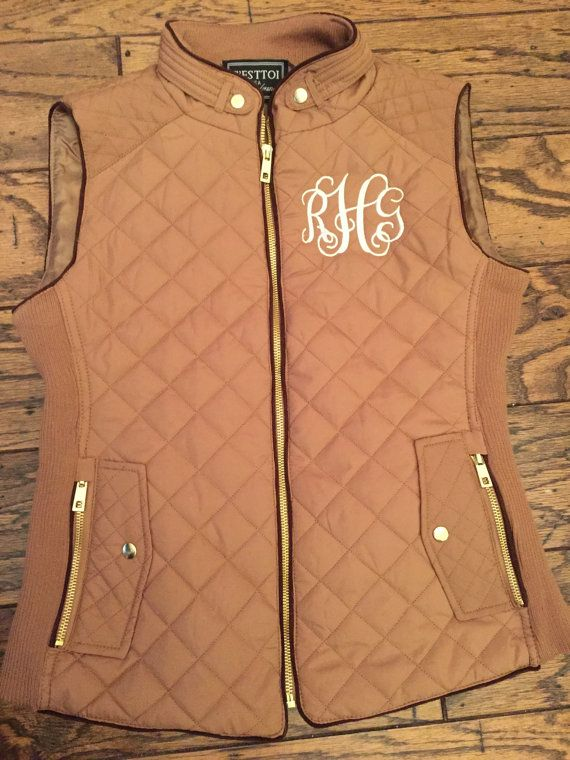 Monogrammed Quilted Puffer Vest by WilkesMonograms on Etsy
