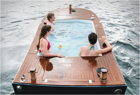 Cruise the water in comfort with a hot tub boat!