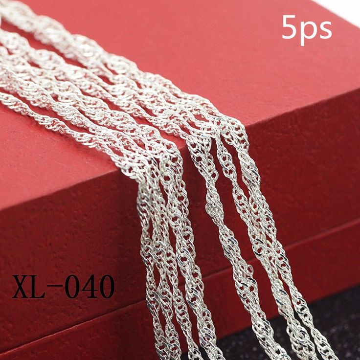 5ps/bag 925 sterling silver women necklace Popular new wave sycee necklace Sterling silver ripples women necklace 2mm 16-30inch