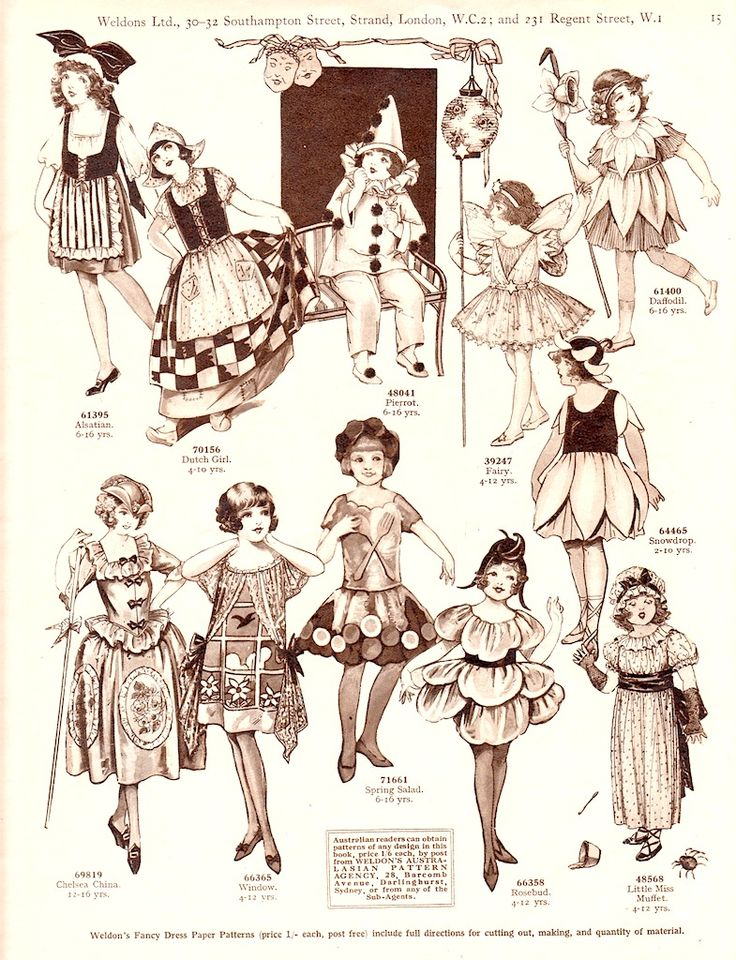 WELDON'S CHILDREN'S PARTY COSTUME PATTERNS with Suggested Ages c. 1920s, London, ><  4 of 5