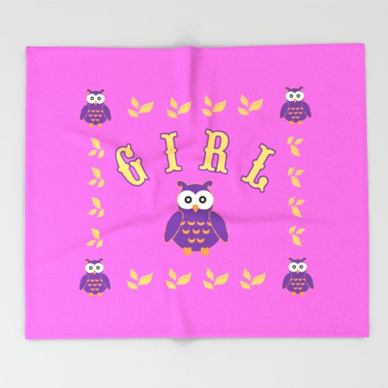 Owl Baby Girl Throw Blanket.  #society6  #throwblanket #blanket   #homedecor #homegifts #giftsfornewborn #giftsforher #babygifts #babygirl 3babyshower #babyblanket