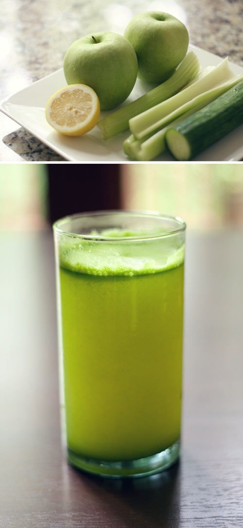 Green Juice   A few handfuls of spinach, 4 stalks of celery, 1 cucumber, 2 granny smith apples, ½ lemon & ginger root.