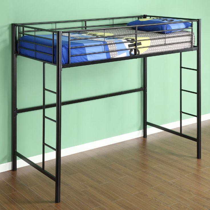 Walker Edison Steel Twin Size Loft Bed (Black) BTOLBL