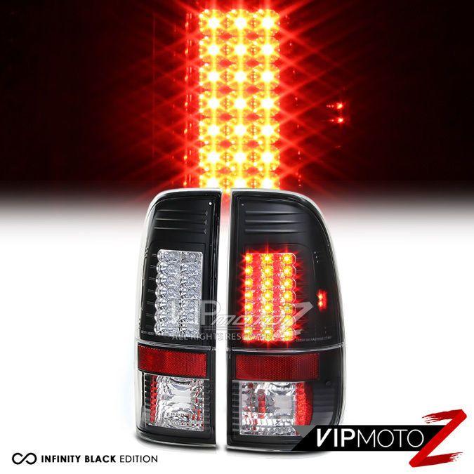 FORD 1997-2003 F150 XL/XLT V8 Truck L+R Black LED Tail Light Brake Signal Lamps #VIPMOTOZ