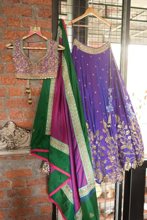 Blue Lehenga by Anushree Reddy | Jivaana.com