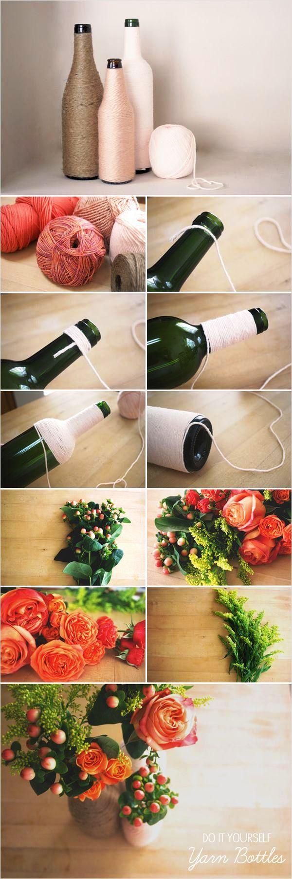 Creative DIY Flower Arrangements DIY Yarn Bottles and Flower Arrangements