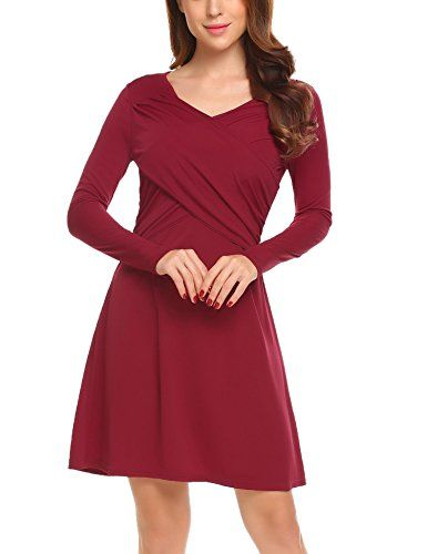 4f3bf2b2d98 New ELESOL Women s Vintage V Neck Long Sleeve Wrap Front Fit and Flare A  Line Dress
