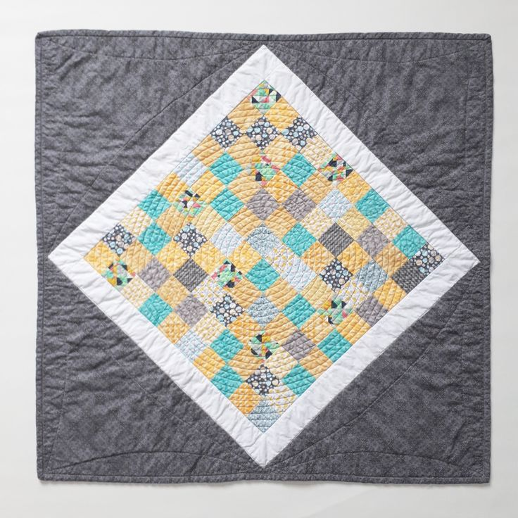 Mini Quilt, Wall Hanging, Baby Quilt, Nursery Decor, Quilted Baby Play Mat, Cotton Blanket