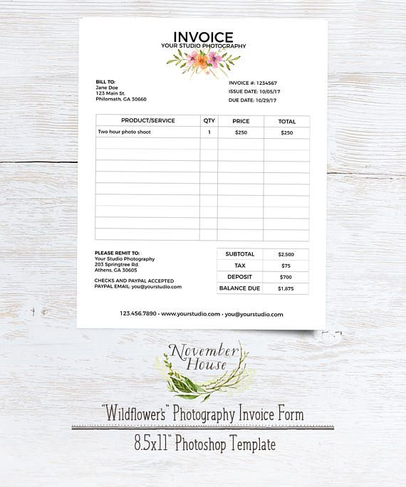 Brand your photography business beautifully with this Wildflower Invoice Form. The form comes as a Photoshop file, which you can edit, save as pdf, then either print and mail or email to your clients. Click to learn more!