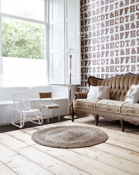 HD non-woven wallpaper wooden light letters sepia brown and light beige #behang #ESTAhome.nl #woonkamer #vintage #lightletters #Marquee #livingroom