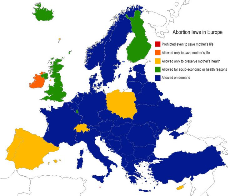Abortion laws in Europe. Though a strong campaign debate over this issue in the States, the situation is much different in Europe. Most Europeans see it as a normal choice for parents, especially for the mother.  What do you think about it? Should we have restrictions on abortion? Is it a right or a murder?  #Europe #EU #abortion #family #womenrights