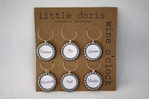 personalised bottle top charms, glass markers, wine glass charms, bottle cap charms, wedding favours, hen nights, bridal shower, wine lover,