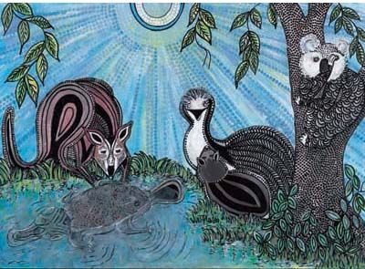 Signed limited edition print 'The Blue Pond' by Grace Fielding from 'A Home for Bilby'. Available at Books Illustrated. http://www.booksillustrated.com.au/bi_prints_indiv.php?id=37&image_id=129