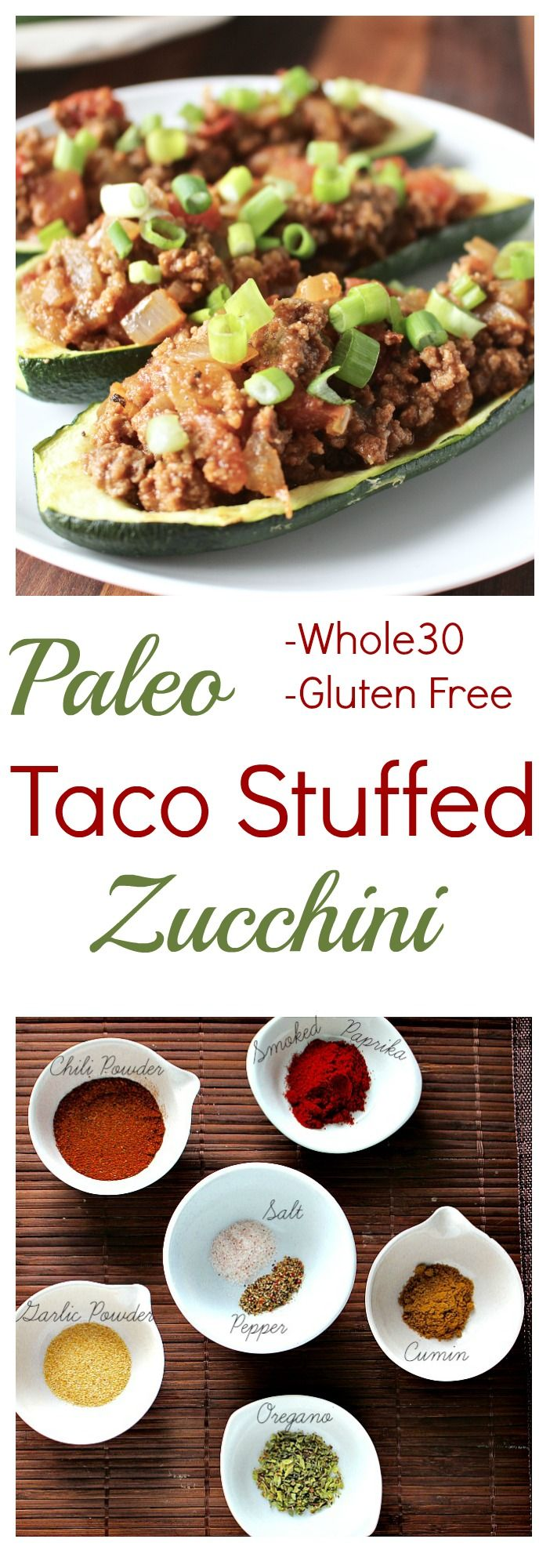 Paleo Taco Stuffed Zucchini- all the flavors of a taco, but made healthier. Whole30, gluten free, and low carb.