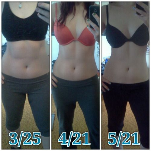"""beforeandafterfatlosspics: """" amanduhjay Still sticking with JM Body Revolution, and I decided to do a 3-shot picture showing my progress over the past 2 months. I'm 5'5"""", and in the first photo I weighed 148.6, in the second I was up to 155.1, and in..."""