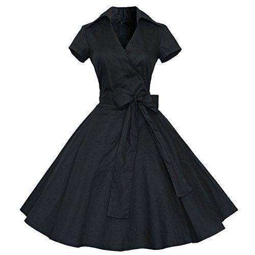 Find Dress Rétro Vintage années 50 's Style Audrey Hepburn Rockabilly Swing, Robe de Bal à Manches Courtes