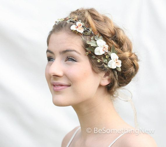 woodland wedding hair wreath with vintage peach velvet pansies wedding hair accessory festival flower crown hair vine with peach flowers bridal hair