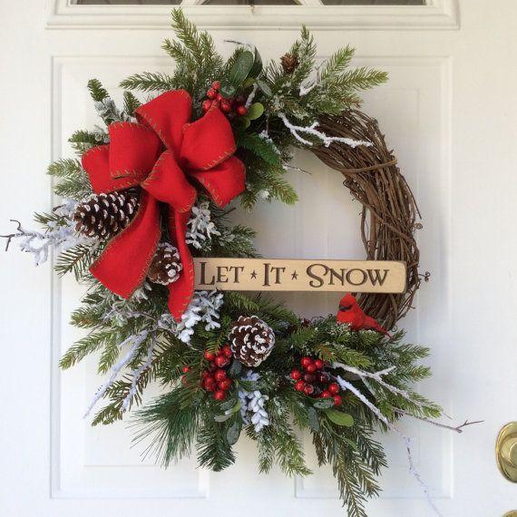 Christmas Wreath-Winter Wreath-Holiday Wreath-Wooden Signs-Christmas Decor-Wreath for Door-Snowy Wreath-Cardinal Wreath-Evergreen Wreath