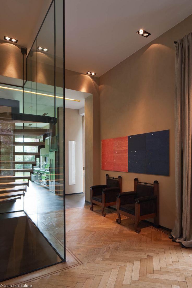 Recessed spotlights in hallway used to creat targeted pools of light Ambient lighting in bathroom and hallway #designer #bespoke #lighting #lightingideas #architecture #home #design #interiors #interiordesign