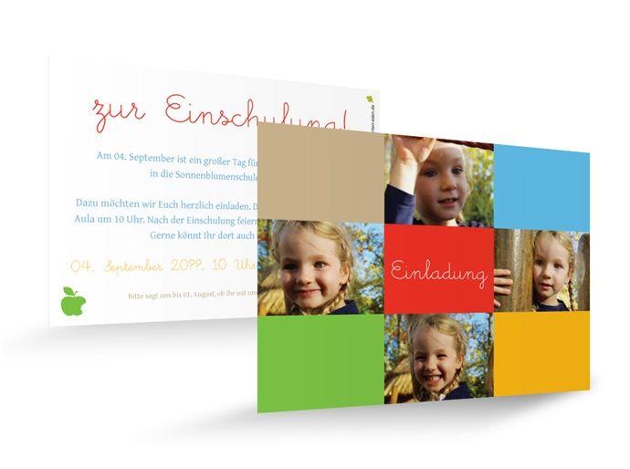 Karteneden Einladungen Einschulung Bilderpost  Ihr Kind ist schon soooo groß! Und jetzt steht der nächste große Schritt bevor. Da gibt es viele Fotos, die perfekt sind für eine Einladung zum Schulanfang. Und die können auf dieser knallig-bunten Karte alle untergebracht werden.