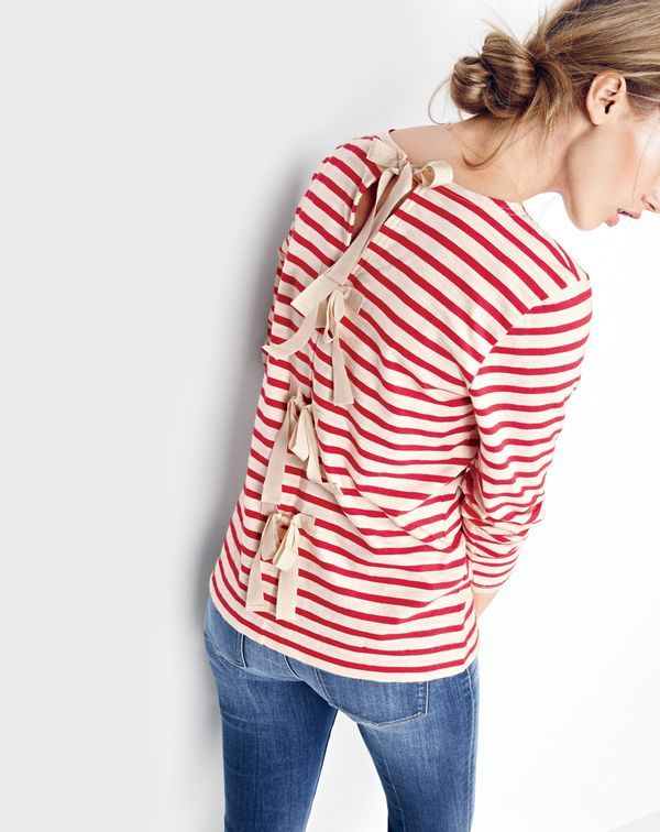 J.Crew women's striped T-shirt with bow-embellished back and Point Sur shoreditch jean in Orran wash. To pre-order, call 800 261 7422 or email verypersonalstylist@jcrew.com.