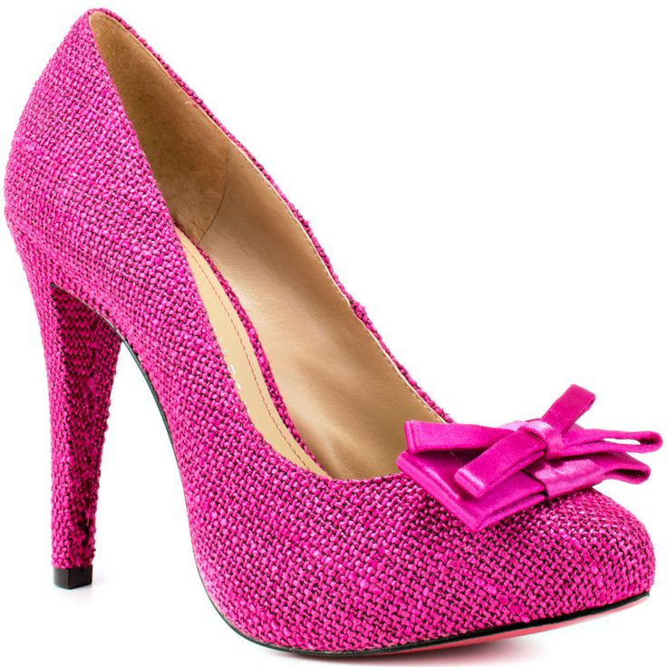 Keep it classy in the Kylie by Paris Hilton. A fuchsia textured linen covers the upper and features a double layered bow. Delivering height is a 4 1/2 inch subtle heel and 1/2 inch concealed platform.