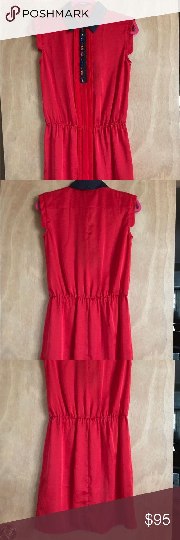 "Armani Jeans Red Color Dress Size IT 40 US 4 Brand New 100% Authentic                                                Armani Jeans Red Color Dress Size IT 40 US 4                            100% polyester                                                                                   Armpit to Armpit 16""                                                                         Lengths 36"" Armani Jeans Dresses Midi"