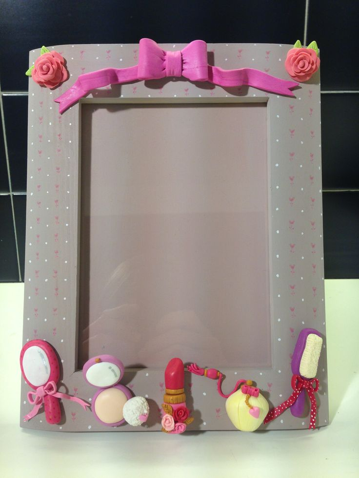Cute Vanity frame - fimo decorated