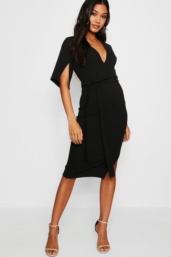 f1cc5b83e9c5 Split Sleeve Tie Waist Kimono Midi Dress | hanger&drawers | Dresses ...