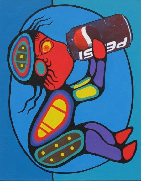 pepsi baby  mixed media on canvas, by Christian Chapman, Ojibwe: