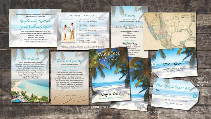 Passport Wedding Invitations featuring Lush Tropical palm trees with a brilliant bright blue tropical sky in background. Comes with luggage tag reply cards, cut like a travel tag.  Can relate all the information your guests need to book and join you on your wedding adventure including accommodations, itinerary, booking info, formal invitation and identity page similar to an authentic passport!  Passports are 3.75 x 5.25 inches. Cover is 100 lb. lightly coated card stock with silk 100 lb…